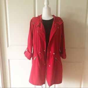 Vince Camuto Red Anorak Hooded Jacket/Size Large